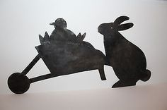 Primitive Early 19th C. Style Rabbit & Chic in Wheelbarrow Tin Quilting Template