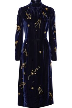 Midnight-blue velvet Concealed hook and zip fastening at back 80% viscose, 20% silk; lining: 60% cupro, 40% silk Dry clean Made in Italy