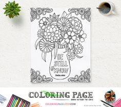 Printable Coloring Page Bible Verse Psalm 46 10 Be by coloringpage