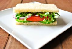 English Cucumber, Arugula, and Tomato Sandwich with Lemon Aioli - Okie Dokie Artichokie (Lunch Vegetarian Vegetables Fruit Gluten Egg products Animal products Arugula Red onions Mayonnaise Tomatoes Lemons Cucumbers Bread)