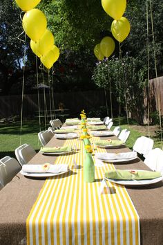My TX bridal shower.  Burlap & yellow stripes