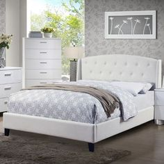 A&J Homes Studio Teemo Upholstered Platform Bed Size: California King, Color: White