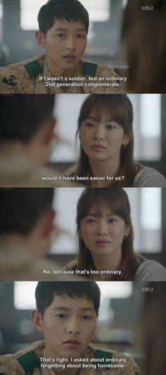 Descendants of the Sun Quotes Drama Korea, Korean Drama Quotes, Song Hye Kyo, Song Joong Ki, Desendents Of The Sun, Songsong Couple, Korean Dramas, Descendants, Kdrama