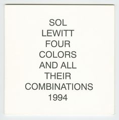 Sol Lewitt, Four Color And All Their Combinations, 1994