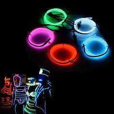 AUDEW 5x 1m Fünf Farben EL Wire EL Kabel Neon Beleuchtung leuchtschnur für Weihnachtsfeiern Rave Partys Halloween Kostüm +Batterie Box: Amazon.de: Beleuchtung