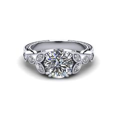 Diamond Petal Engagement Ring created by the artisans at Jewelry Designs in Danbury Ct.