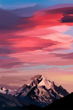 Some paintings to relax Mountain Sunset, Mountain Art, Mountain Landscape, Fantasy Landscape, Landscape Art, Landscape Paintings, Sunset Paintings, Landscapes, Sunset Art