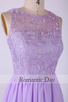 Beautiful Lavender Illusion Neckline Lace&Chiffon by RomanticDay
