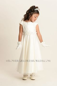 702a03d5a0a Flower Girl Dress Style Choice of Ivory or White Aline with Appliques - All  First Communion Dresses - Flower Girl Dress For.