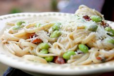 Pasta with Edamame and Bacon