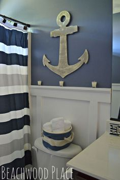 HOME DECOR – COASTAL STYLE – nautical bathroom decor, bathroom ideas, repurposing upcycling, wall decor.--For the boys bathroom Nautical Bathroom Design Ideas, Nautical Bathrooms, Beach Bathrooms, Nautical Home, Bathroom Kids, Nautical Style, Nautical Interior, Anchor Bathroom, Bathroom Designs