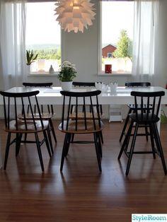matbord,pinnstolar,lampa,vitt,ljuslyktor,matplats,retro