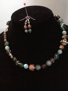 Classic beaded necklace and earring set. 20.00