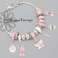 Pink Ribbon Bracelet ♥ Breast Cancer Awareness ♥ Arm Candy Beads Charms ♥ Support Foxchase Cancer Center ♥ $26 / Free USA Shipping