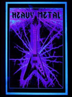 "UV Schwarzlicht Poster ""Electric Guitar - Heavy Metal"" #blacklight #schwarzlicht #wallpaper #neon #psy #deco"