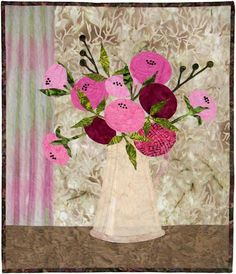 """Primitive Rose by Edyta Sitar. 25"""" x 30"""". Raw edge appliqué. Pattern available at Laundry Basket Quilts."""