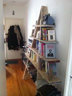 Scaffolding board shelving unit for hallway, save on space!!