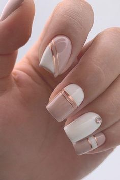 30 Cute Nail Design Ideas For Stylish Brides – Products I love! 30 Cute Nail Design Ideas For Stylish Brides 30 Cute Nail Design Ideas For Stylish Brides ❤ nail design pink white pink minimalist with golden stripes and rhinestones lyasha_nevskaya Nail Polish, Nail Manicure, Diy Nails, Cute Nails, Manicures, Pretty Nails, Cute Simple Nails, Fancy Nails, Square Nail Designs