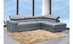 Sofá chaise longue a la derecha reclinable en piel grabada gris