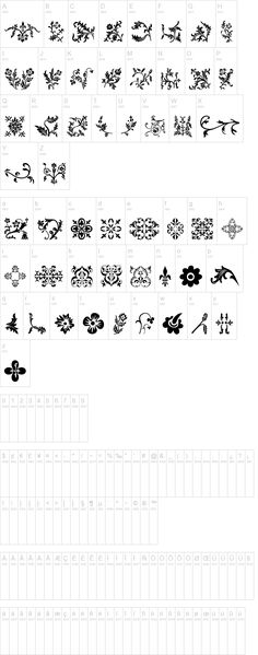 Interesting collection dingbats making up a decorative floral font design.