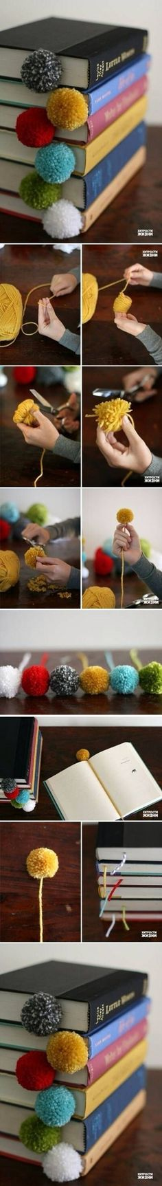 Pom pom bookmarks. I would make the string thicker using macrame/friendship bracelet knots