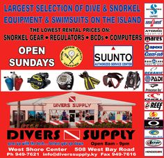 Divers Supply stocks the largest selection of dive and snorkel equipment and swimsuits in the Cayman Islands. At Divers Supply you can also rent snorkel gear, regulators and BCD's for low prices. We carry all the major brands for diving and snorkel equipment. Gear up with us before you go down.