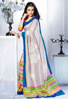 Cream Color Bhagalpuri Designer Saree
