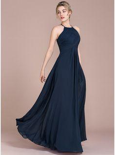 A-Line/Princess Scoop Neck Floor-Length Chiffon Evening Dress With Ruffle (017116487) - JJsHouse
