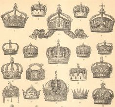 1896 Crowns of European Empires and Countries Original Antique Engraving to Frame - tattoo ideas
