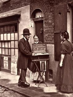 Street Life in London, 1876. Selling peppermint cough preventatives. Notice the corrective shoes?