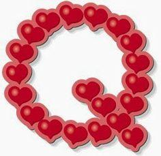 Alfabeto hecho de corazones.