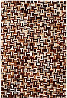 Dynamic Rugs Leatherwork Brown/Multi Geometric Rectangle Area Rug
