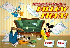 Mickey Mouse ,Donald Duck and Goofy are trying to have some fun by having a pillow fight and they need your help. Chose a character that you like the most and then use your mouse to select the weapons like water balloons and start having fun.