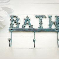 Metal Wall Decor / Bathroom Decor / Bathroom Hooks / Shabby Chic / French Country Decor / Patina / For the Home / Customize Colors