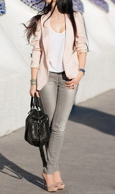 blush pink, light grey jeans, white tee