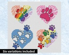 Mini paw print heart cross stitch patterns - rainbow, pink and blue versions included. Card sized motifs for dog, cat and pet lovers. Cross Stitch Bookmarks, Mini Cross Stitch, Cross Stitch Heart, Cross Stitch Cards, Simple Cross Stitch, Cross Stitch Borders, Cross Stitch Alphabet, Cross Stitch Animals, Cross Stitch Designs