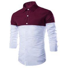 Trendy Shirt Collar Color Block Splicing Slimming Long Sleeve Cotton Blend Shirt For Men