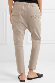 Bassike - Cotton-drill Tapered Pants - Taupe - 1