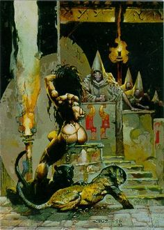 """Three fantasy paintings by Simon Bisley from """"F. published in Heavy Metal magazine, Dark Fantasy Art, Fantasy Artwork, Fantasy Kunst, Fantasy Paintings, Fantasy Drawings, Simon Bisley, Art And Illustration, Art Illustrations, Sci Fi Kunst"""