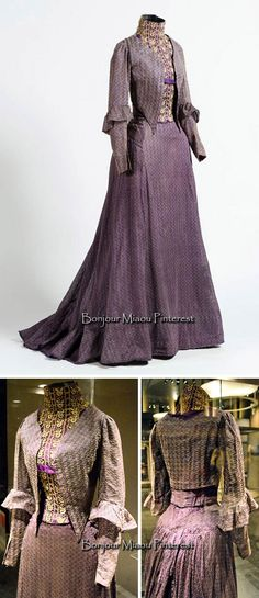Dress ca. 1900. Silk and cotton with bobbin lace. Top photo: Omar Dumaine. National Museum of Mexican History