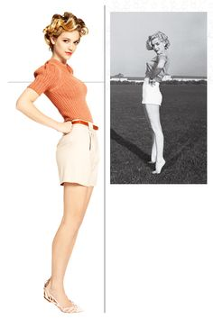 THE INGENUE  How Marilyn Wore It: In this 1951 portrait, MM plays coy with a key '50s silhouette—high-rise shorts and a fitted sweater—and a knowing wink.    How I'd Style It: There's no shortage of this shape on the spring runways, especially the high waist. I freshened up the look (Burberry Prorsum sweater, Cacharel shorts) with—gasp!—flats. Barefoot Marilyn would approve.    Photo: Hao Zeng; styled by Joe Zee