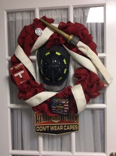 Pinned said: This is a wreath I made for my daughter in law to give my son for Valentines Day. He is a career firefighter and a local volunteer firefighter. This is amazing! Firefighter Home Decor, Firefighter Family, Firefighter Paramedic, Volunteer Firefighter, Firefighters Wife, Firefighter Wedding, Firefighter Quotes, Female Firefighter, Firemen