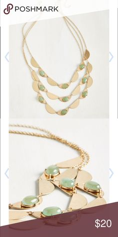 SALE🔥 Layers Gold and Green Stones Necklace Brand New. ModCloth Jewelry Necklaces