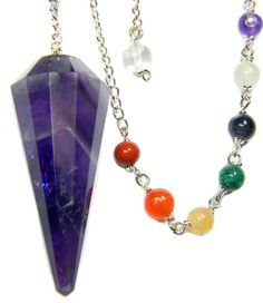 """Beautifully crafted Amethyst Chakra Pendulum with chakra beads on a 6"""" silver chain ( total length 8""""). Amethyst is the gemstone for Channeling and Intuition. Comes with satin carry pouch and instruct"""