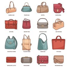 25 Types of Handbags - Do You Know them All?- Types of Handbags – Do You Know them All? Types of Handbags chart Types Of Purses, Types Of Handbags, Trendy Handbags, Types Of Bag, Cheap Handbags, Hobo Handbags, Luxury Handbags, Fashion Handbags, Purses And Handbags