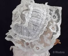 Victorian Christening Bonnet - White work Lace - Suit Small Doll