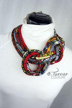 www.cewax.fr aime ce collier plastron style ethnique tendance tribale tissu africain wax ankara Multicolor bijoux africain - bijoux africains