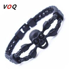 Black Friday Vintage Black Skull Bracelets Bangles Hand Made Top Quality Leather Skeleton Bracelet Men Jewelry pulseras hombre #Affiliate