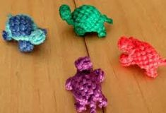 Turtles out of embroidery floss                                                                                                                                                                                 More