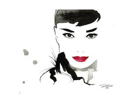 125.00 print Etsy Find Original Watercolor Fashion Illustration - Gesture of Audrey painting
